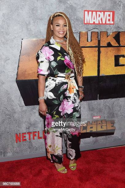Faith Evans attends the 'Luke Cage' Season 2 premiere at The Edison Ballroom on June 21 2018 in New York City