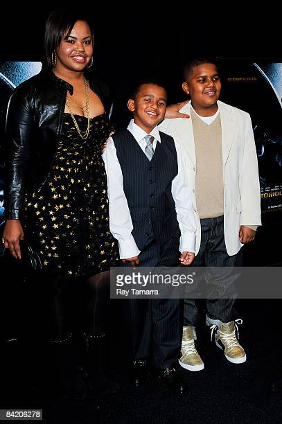 Faith Evan's children Chyna Griffin Joshua Russaw and Christopher Wallace attend the premiere of Notorious at the AMC Lincoln Square on January 7...