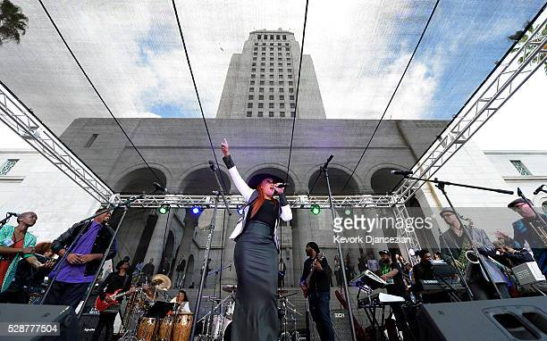Faith Evans performs during city of Los Angeles memorial tribute of Prince Rogers Nelson at City Hall May 6 in Los Angeles California