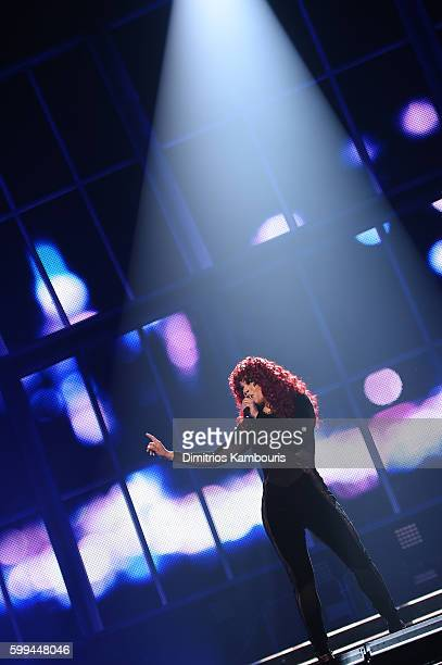 Faith Evans performs during Puff Daddy and Bad Boy Family Reunion Tour at Madison Square Garden on September 4 2016 in New York City