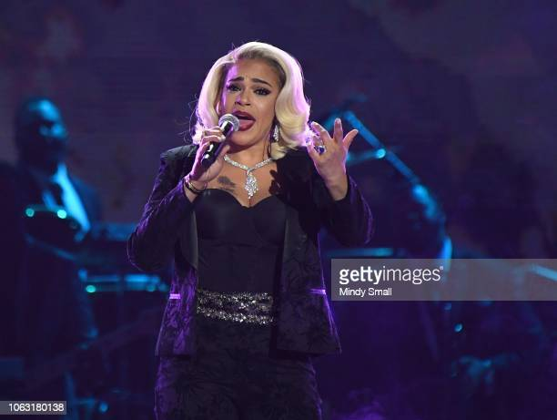 Faith Evans performs onstage during the 2018 Soul Train Awards at the Orleans Arena on November 17, 2018 in Las Vegas, Nevada.