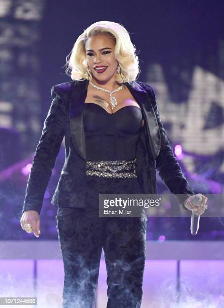 Faith Evans performs onstage during the 2018 Soul Train Awards presented by BET at the Orleans Arena on November 17 2018 in Las Vegas Nevada