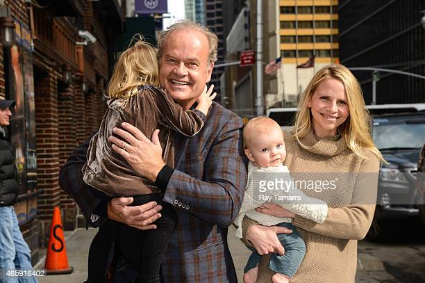 Faith Grammer actor Kelsey Grammer Kelsey Gabriel Elias Grammer and Kayte Walsh enter the Late Show With David Letterman taping at the Ed Sullivan...
