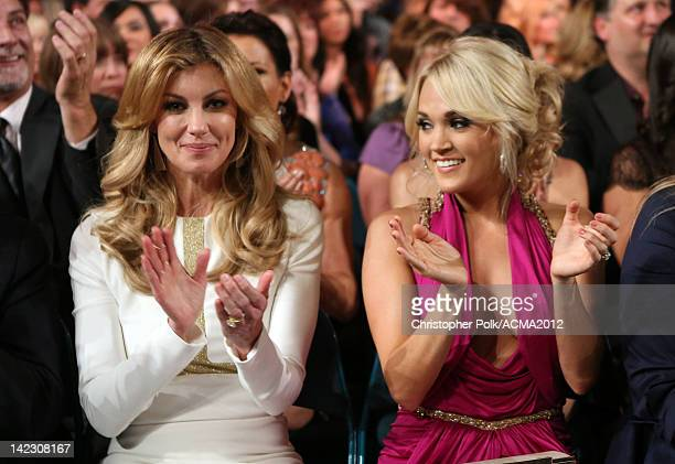 Faith Hill and Carrie Underwood attend the 47th Annual Academy Of Country Music Awards held at the MGM Grand Garden Arena on April 1 2012 in Las...