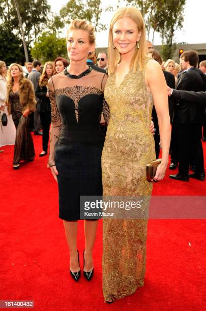 Faith Hill and Nicole Kidman attend the 55th Annual GRAMMY Awards at STAPLES Center on February 10, 2013 in Los Angeles, California.