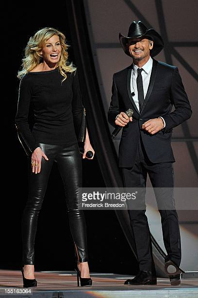 Faith Hill and Tim McGraw perform during the 46th annual CMA awards at the Bridgestone Arena on November 1 2012 in Nashville Tennessee