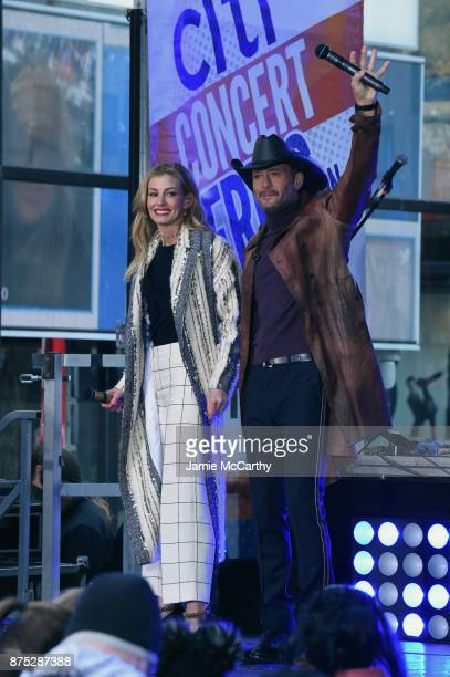 Faith Hill and Tim McGraw perform On NBC's Today at Rockefeller Plaza on November 17 2017 in New York City