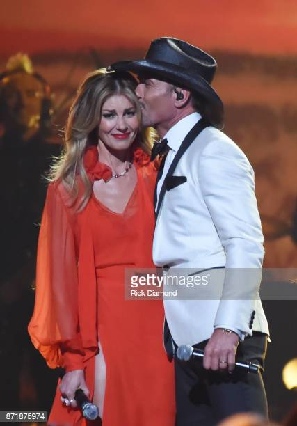 Faith Hill and Tim McGraw perform onstage at the 51st annual CMA Awards at the Bridgestone Arena on November 8 2017 in Nashville Tennessee