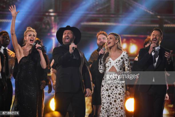 Faith Hill Garth Brooks Kelsea Ballerini and Jimi Westbrook perform onstage at the 51st annual CMA Awards at the Bridgestone Arena on November 8 2017...