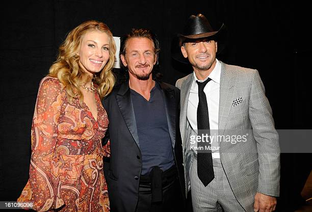 Faith Hill, Sean Penn and Tim McGraw attend MusiCares Person Of The Year Honoring Bruce Springsteen at Los Angeles Convention Center on February 8,...