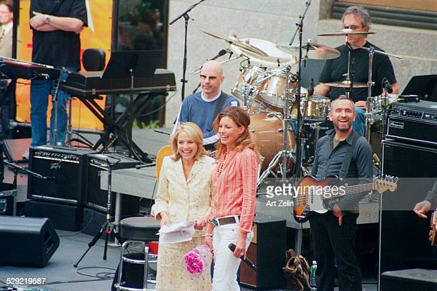 Faith Hill, with the band, being interviewed by Katie Couric for the Today Show; 2005; New York.