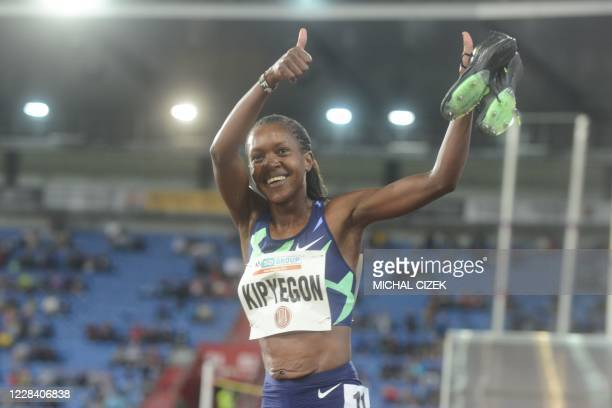 Faith Kipyegon of Kenya celebrates after winning the Women's 1500m of IAAF Golden Spike 2020 Athletics meeting in Ostrava, Czech Republic, on...