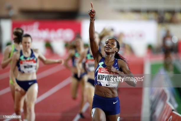 Faith Kipyegon of Kenya celebrates victory in the Women's 1000 metres during the Herculis EBS Monaco 2020 Diamond League meeting at Stade Louis II on...