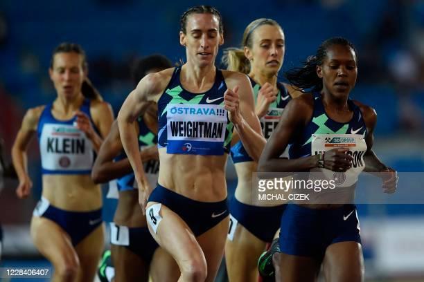 Faith Kipyegon of Kenya leads to win the Women's 1500m of IAAF Golden Spike 2020 Athletics meeting in Ostrava, Czech Republic, on September 8, 2020.