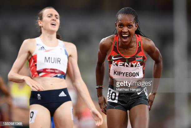 Faith Kipyegon of Team Kenya reacts after winning the gold medal during the Women's 1500 metres final on day fourteen of the Tokyo 2020 Olympic Games...