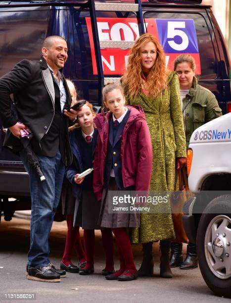 Faith Margaret Kidman Urban, Sunday Rose Kidman Urban and Nicole Kidman seen filming on location for 'The Undoing' on the Upper East Side on March...