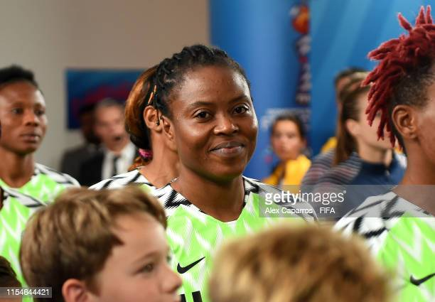 Faith Michael of Nigeria looks on in the tunnel prior to the 2019 FIFA Women's World Cup France group A match between Norway and Nigeria at Stade...