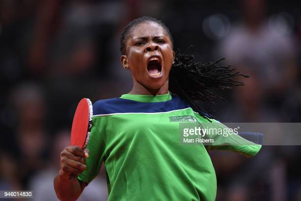 Faith Obazuaye of Nigeria reacts against Melissa Tapper of Australia during the Women's TT6-10 Singeles Gold Medal Table Tennis match on day 10 of...