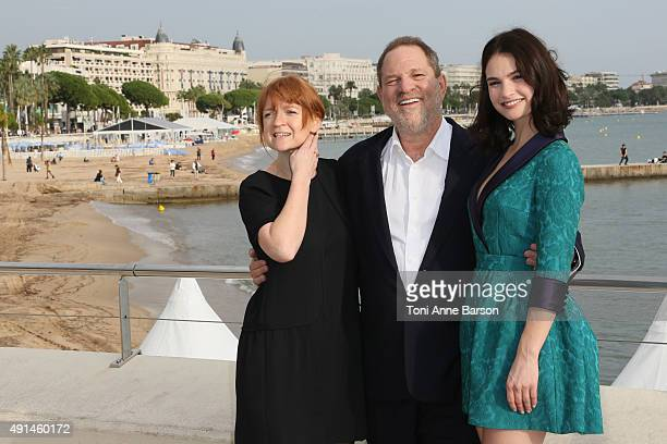 Faith Penhale BBC Head of Drama Harvey Weinstein and Lily James attend photocall on La Croisette on October 5 2015 in Cannes France