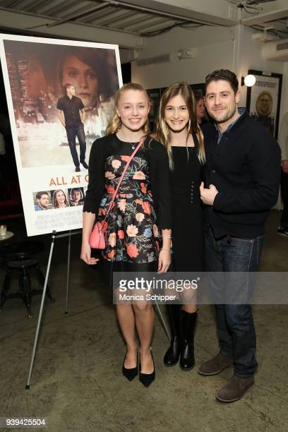 Faith Smolik actress Nicole Elizabeth Berger and actor and director Jon Abrahams attend the All At Once New York Premiere at Metrograph on March 28...