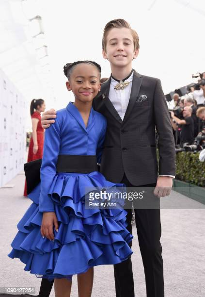 Faithe Herman and Parker Bates attends the 25th Annual Screen ActorsGuild Awards at The Shrine Auditorium on January 27 2019 in Los Angeles...