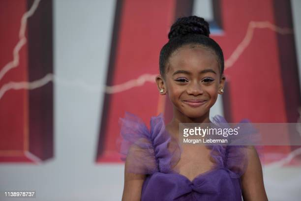 Faithe Herman arrives at Warner Bros Pictures and New Line Cinema's world premiere of SHAZAM at TCL Chinese Theatre on March 28 2019 in Hollywood...