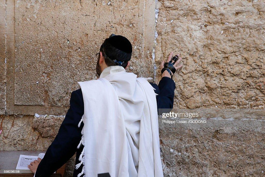Faithful at the Western wall, Jerusalem. : Stock Photo