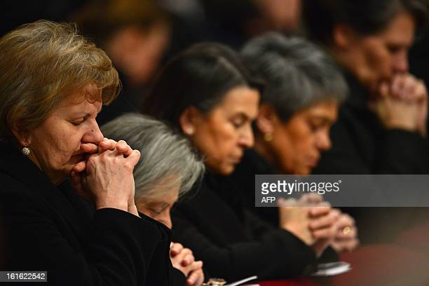 Faithful attend a mass led by poepe Benedict XVI for Ash Wednesday opening Lent the fortyday period of abstinence and deprivation for the Christians...