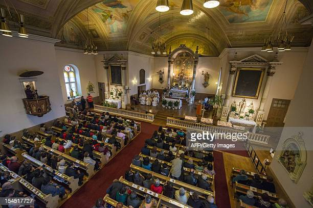 Faithful attend services for Kateri Tekakwitha as her devotion is celebrated by the Catholic faithful October 21 2012 at the St Francis Xavier Church...