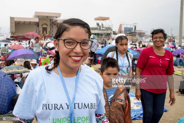Faithful camp on the beach during Pope Francis 4day apostolic visit to Peru on January 19 2018 in Huanchaco Peru