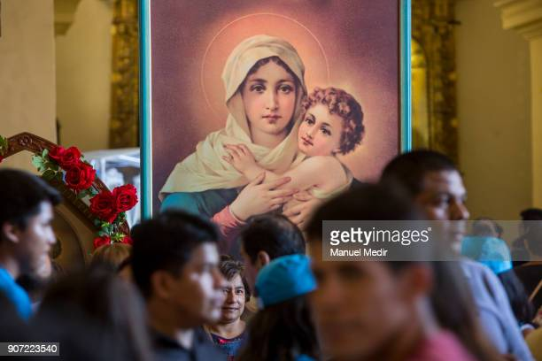 Faithful crowd next to the image of the virgin at Trujillo Cathedral during Pope Francis 4day apostolic visit to Peru on January 19 2018 in Trujillo...