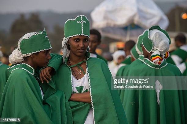 Faithful dressed with traditional clothes attend the Timkat celebration on January 18 2015 in Addis Ababa Ethiopia The Timkat is the Ethiopian...