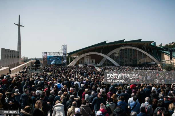Faithful during the Mass celebreted by Pope Francis on March 17 2018 in San Giovanni Rotondo Italy Pope Francis visits San Giovanni Rotondo in honor...