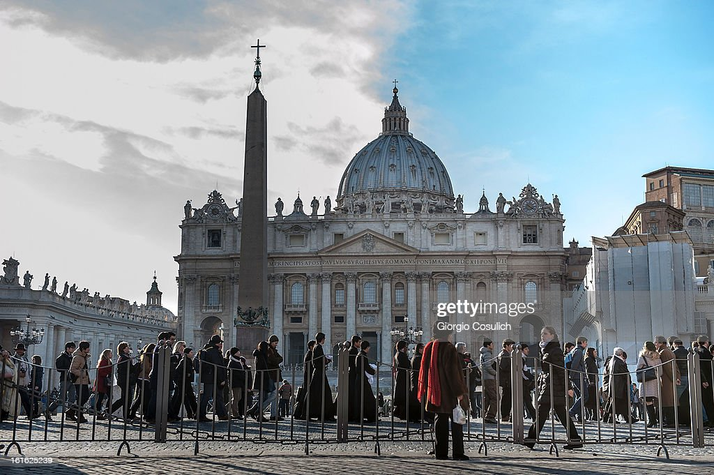 Faithful gather to Saint Peters' Square to attend the celebration of the Ash Wednesday mass on February 13, 2013 in Vatican City, Vatican. The Pontiff will hold his last weekly public audience on February 27 at St Peter's Square after announcing his resignation earlier this week.