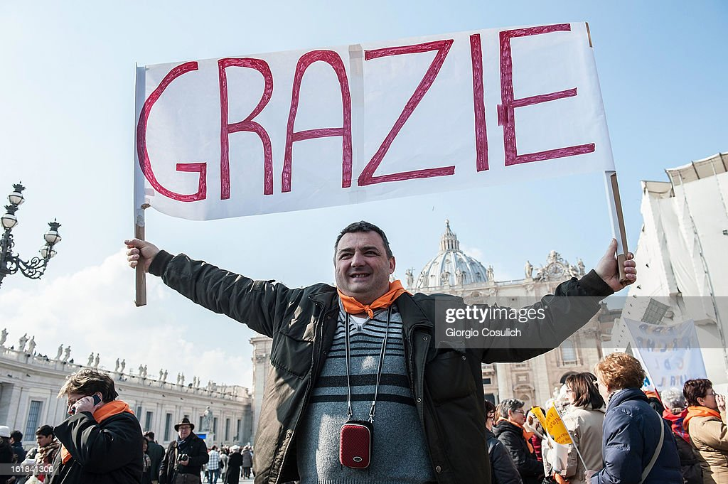 A faithful holds a banner reading 'thank you' as he attends Pope Benedict XVI Angelus Blessing at St. Peter's Square on February 17, 2013 in Vatican City, Vatican. The Pontiff will hold his last weekly public audience on February 27 at St Peter's Square after announcing his resignation last week.