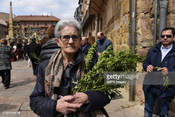 A faithful is seen holding olive twigs during the procession of 'Domingo de Ramos' in Soria north of Spain Palm Sunday commemorates the triumphant...