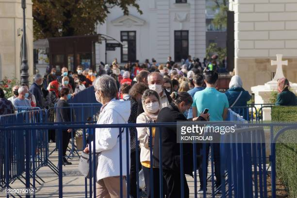 Faithful line up in the Metropolitan Cathedral of Iasi, to venerate Saint Parascheva, also known as Saint Petka, the miraculous Saint buried in this...