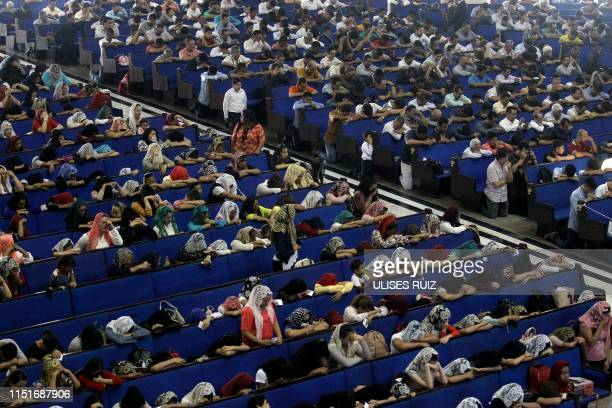 TOPSHOT Faithful participate in the baptism day of the 'La Luz Del Mundo' church in Guadalajara State of Jalisco Mexico on June 23 2019 The...