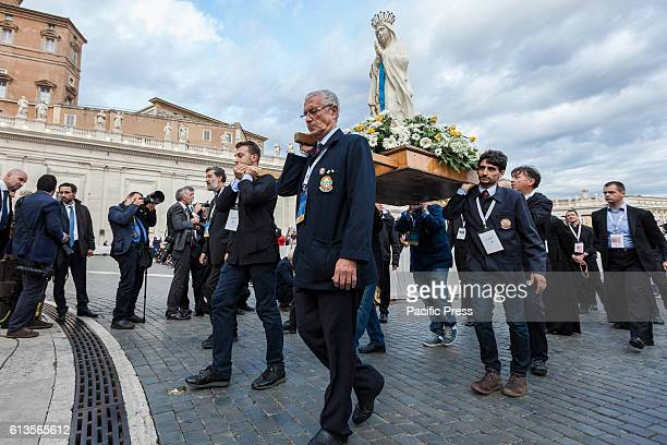 S SQUARE VATICAN CITY VATICAN Faithful take part in a procession during a Marian prayer vigil presided by Pope Francis as part of the celebrations of...