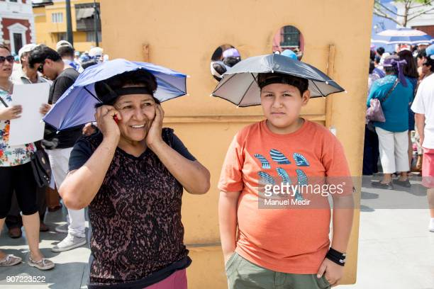 Faithful wait outside the Trujillo Cathedral during Pope Francis 4day apostolic visit to Peru on January 19 2018 in Trujillo Peru