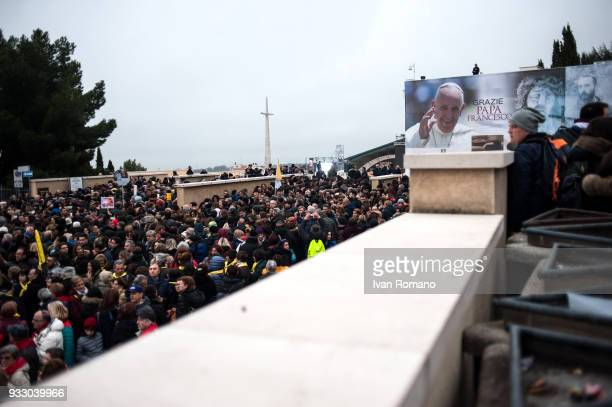 Faithful waiting for access to pubblic spaces near the Church of Santa Maria Delle Grazie on March 16 2018 in San Giovanni Rotondo Italy Pope Francis...