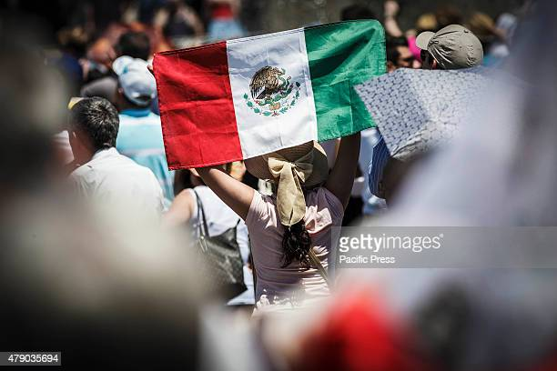 A faithful waves the Mexico flag during the Angelus prayer on the Solemnity of Saints Peter and Paul in Vatican City June 29th marks the Feast day of...