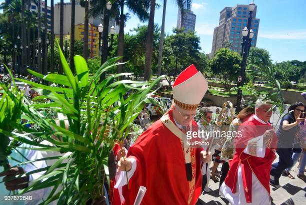 Faithfuls attend Palm Sunday Mass held by Dom Odilo Scherer at Sé Square on March 25 2018 in São Paulo Dom Odilo Scherer on Sunday presided at the...