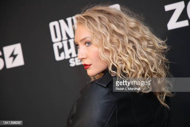 """FaithyJ attends Zeus Network's """"One Mo Chance"""" Season 2 Premiere at AMC Universal at City Walk on September 19, 2021 in Universal City, California."""