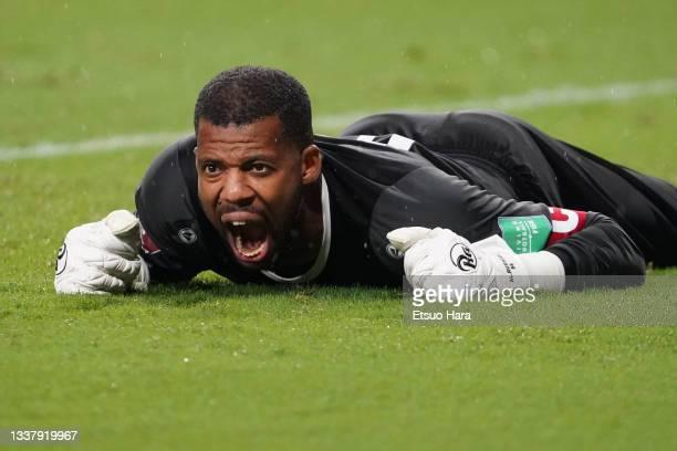 Faiyz Al Rusheidi of Oman reacts during FIFA World Cup Asian Qualifier Final Round Group B match between Japan and Oman at Panasonic Stadium Suita on...
