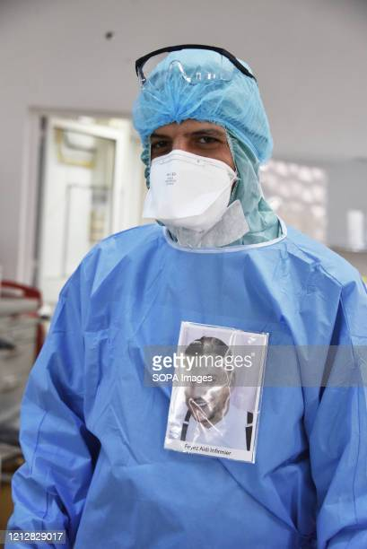 Faiz Aydi a medical staff member poses for a pic during International Nurses Day at Abdel Rahman Mami Hospital the central hospital for covid19...