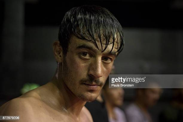 Faiz Gardez from Paktia province arrives to tryout for the amateur flight at the Snow Leopard Fighting Championship gym on May72017 in Kabul Sports...