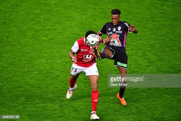 Faiz Selemani of AC Ajaccio and Julian Janvier of Reims during the French Ligue 2 match between Reims and Ajaccio at Stade Auguste Delaune on April...