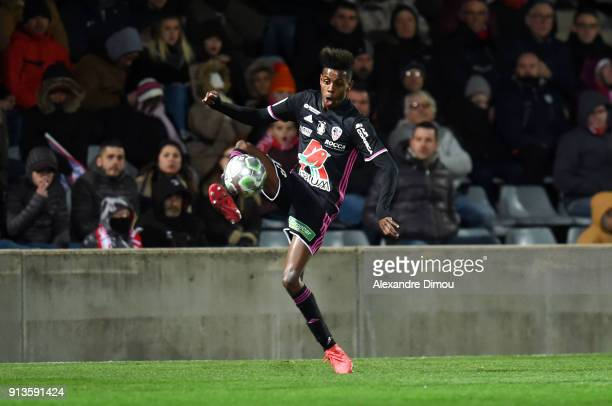 Faiz Selemani of Ajaccio during Ligue 2 match between Nimes and AC Ajaccio at Stade des Costieres on February 2 2018 in Nimes France