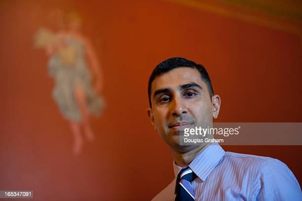 Faiz Shakir new digital media adviser for Harry Reid poses for a photo in the US Capitol on April 3 2013